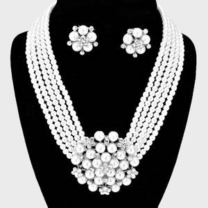 Pearl Cluster Flower Necklace & Clip on Earring